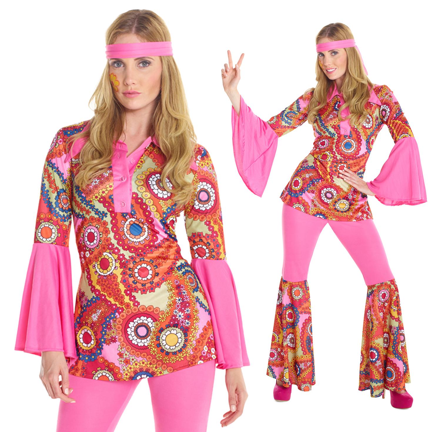 womens hippie costume 60s 70s ladies groovy hippy fancy