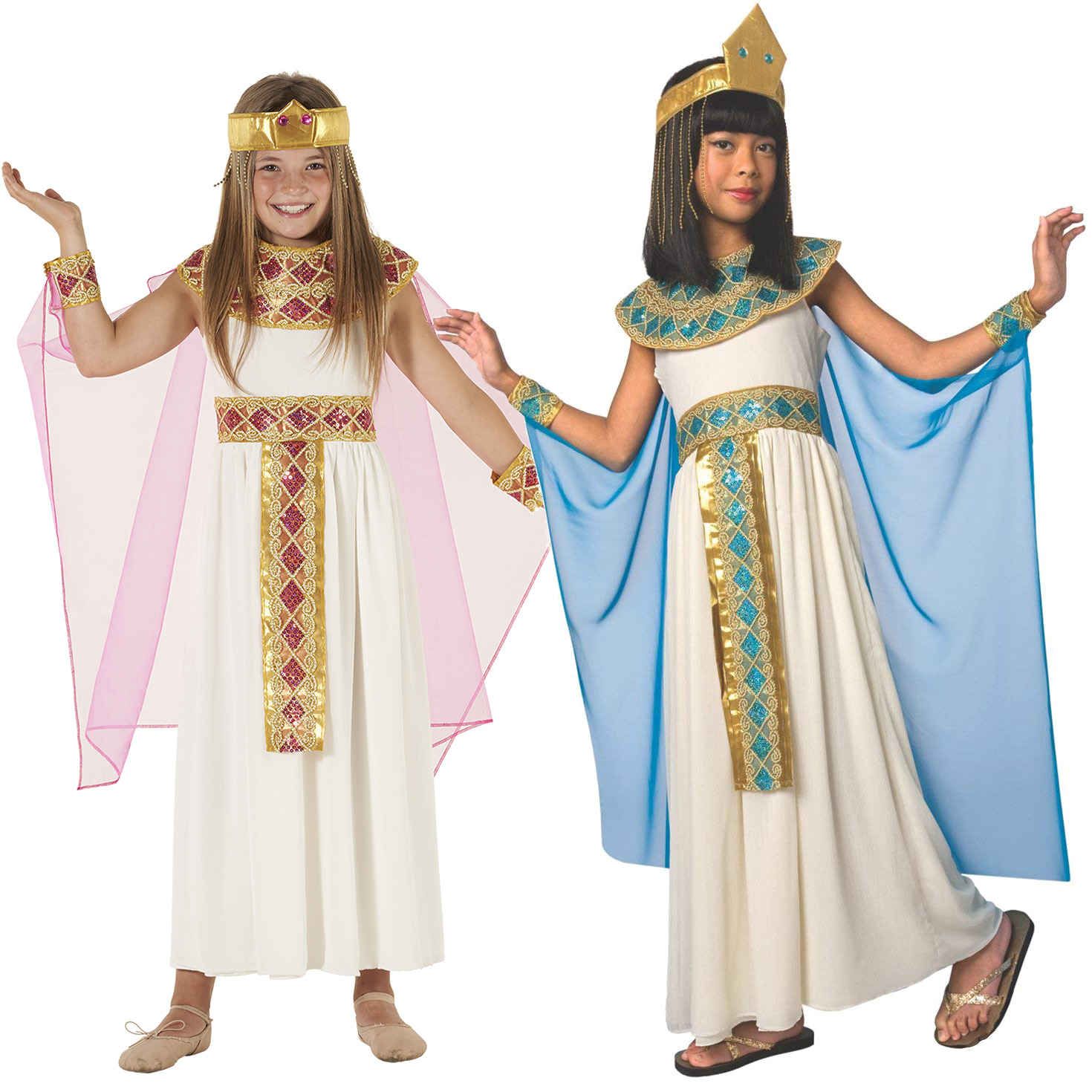 Deluxe Girls Cleopatra Costume Egyptian Queen Kids Fancy Dress Halloween Goddess Ebay