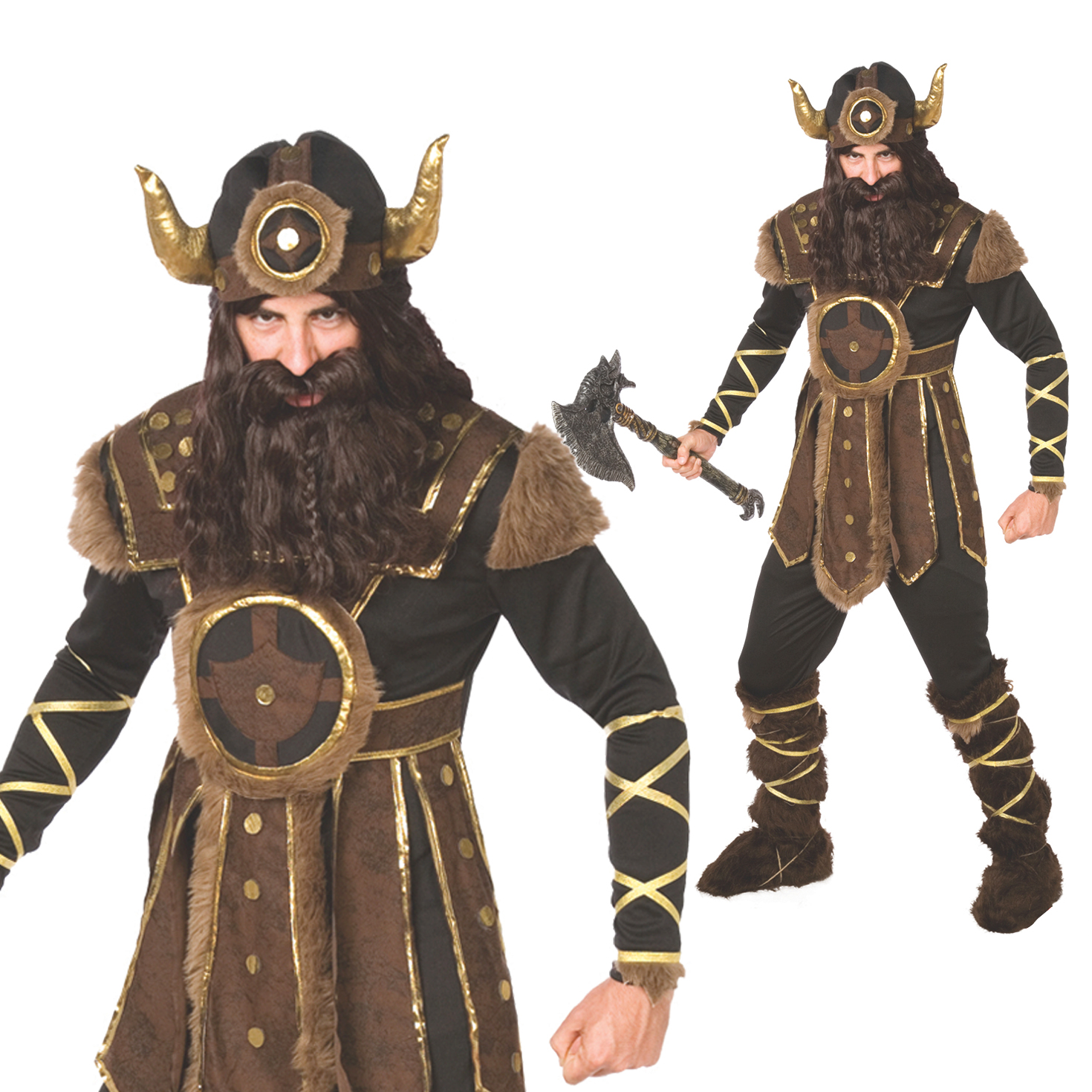 Mens Viking Warrior Fancy Dress Costume Incl Helmet Nordic Barbarian
