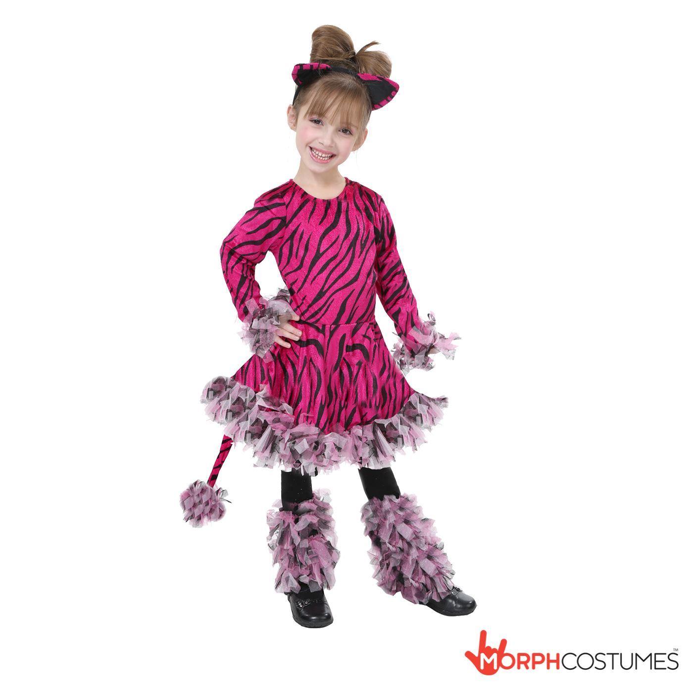girls cute pink tiger fancy dress costume kids jungle animal tigress outfit - Tigress Halloween Costume