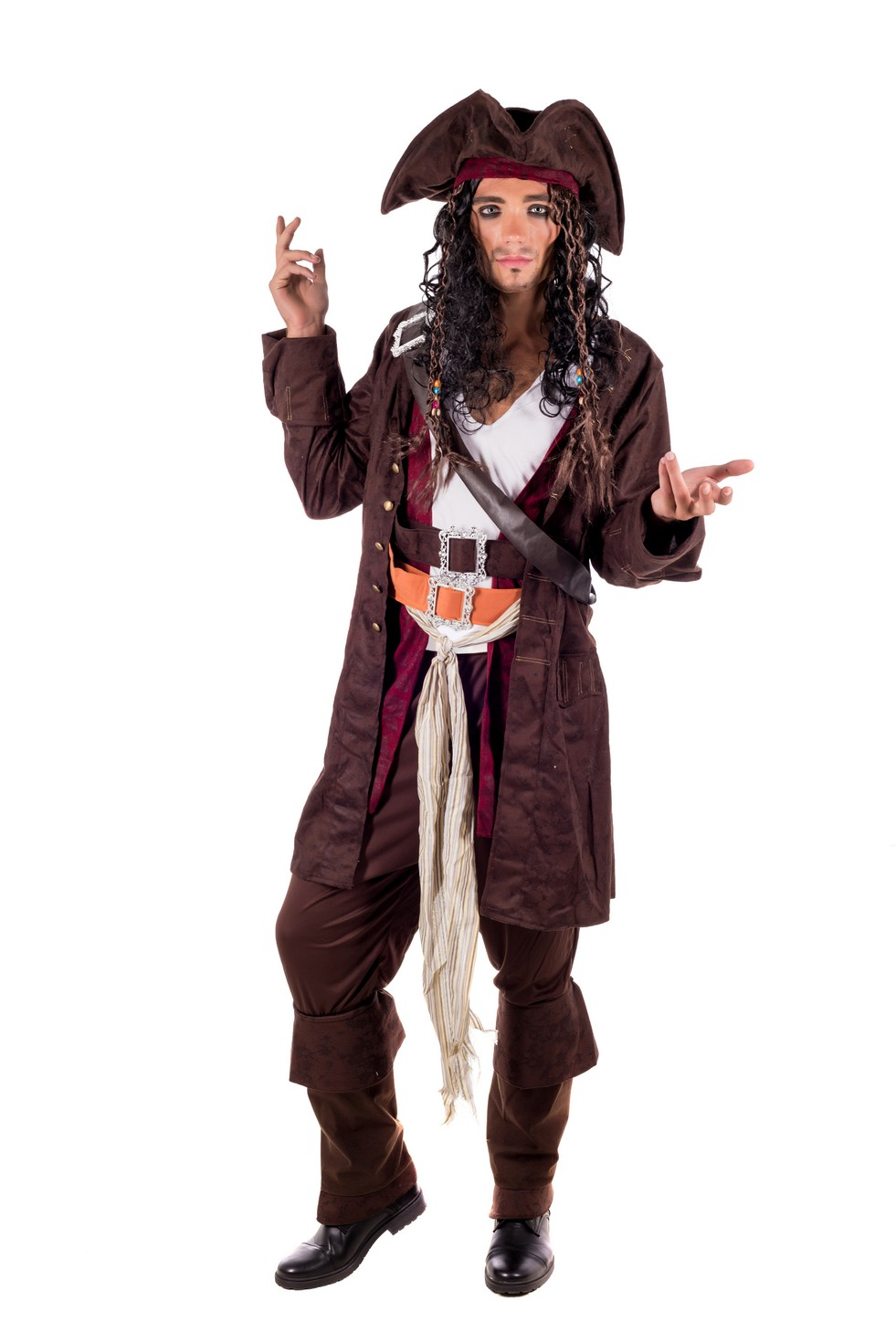 Jack M Pirate Zu Caribbean Xl Details Mens Dress L Wig Fancy Sparrow CostumeHat Captain D9IH2EW