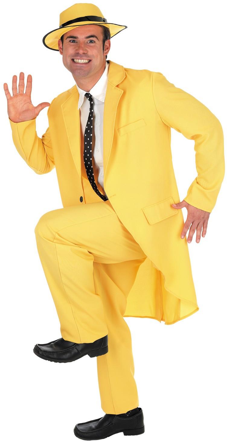 Mens 90s Yellow The Mask Costume Adult Jim Carrey Film Fancy Dress M L XL
