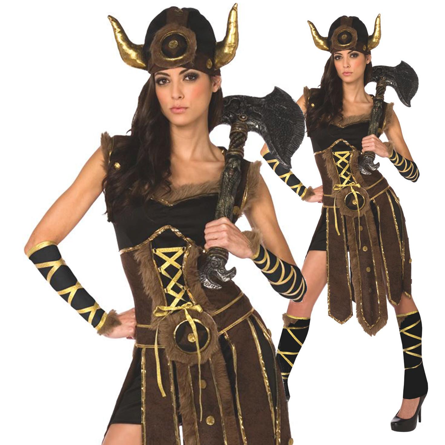 Elegant Details About Womens Ladies Viking Barbarian Warrior Princess Fancy Dress  Halloween Costume