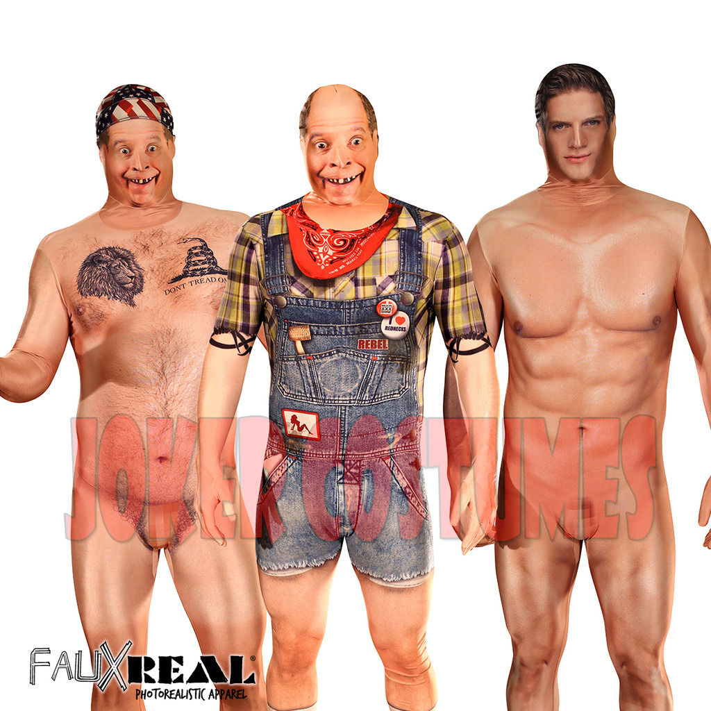 American Gladiators Naked details about morphsuit amazing faux real 3d print naked hillbilly naked  man billy bob costume