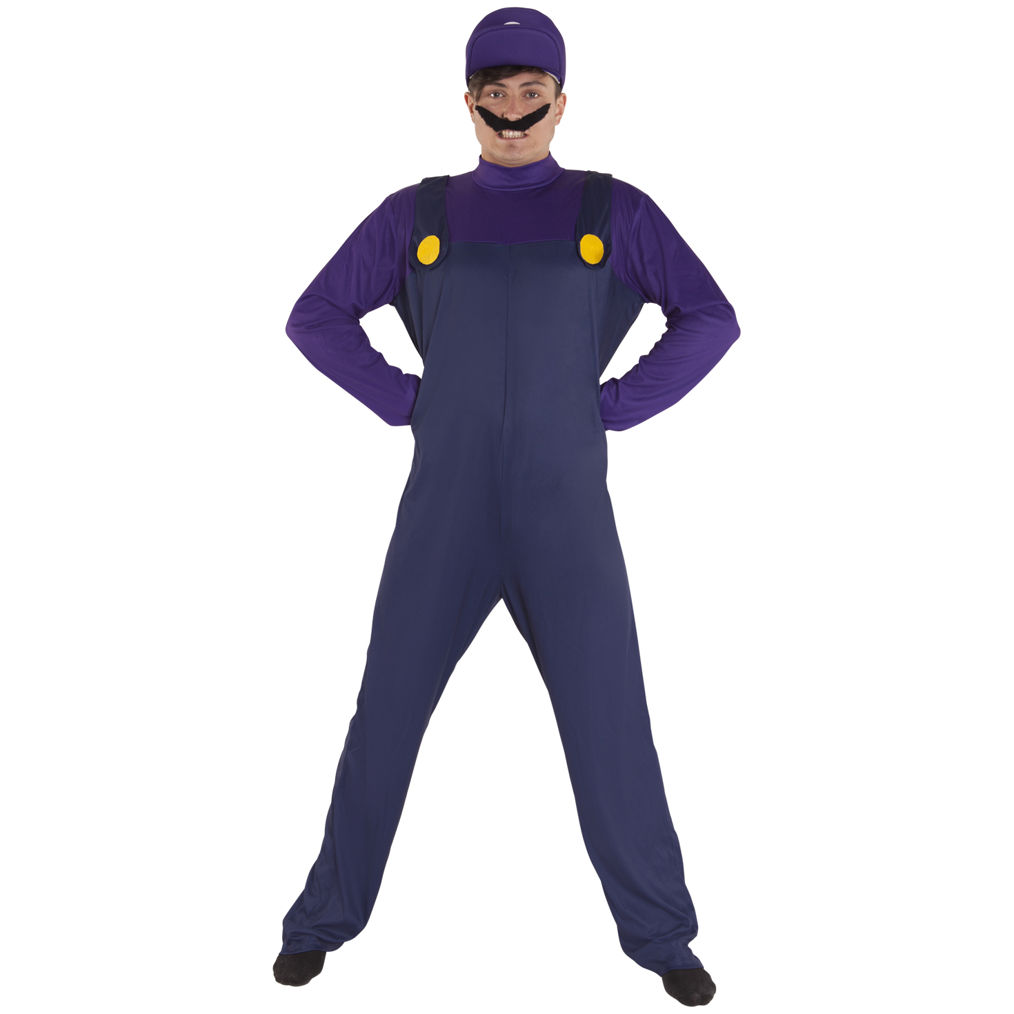 Details about Mens Super Mario Bros WALUIGI Fancy Dress Costume Adult  Purple Plumber Outfit b8ae2a809