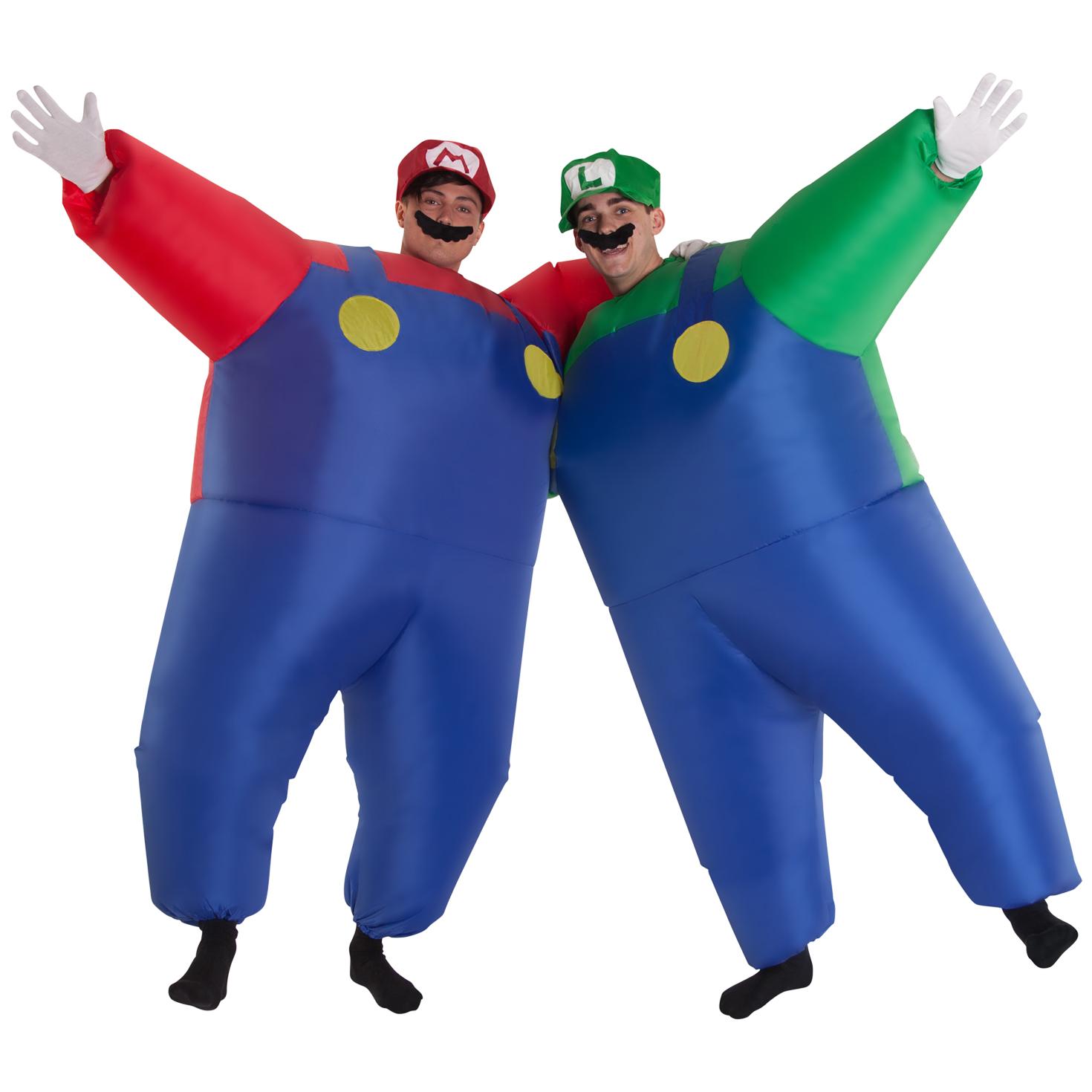 Men Super Mario Or Luigi Inflatable Red Green Plumber Costume