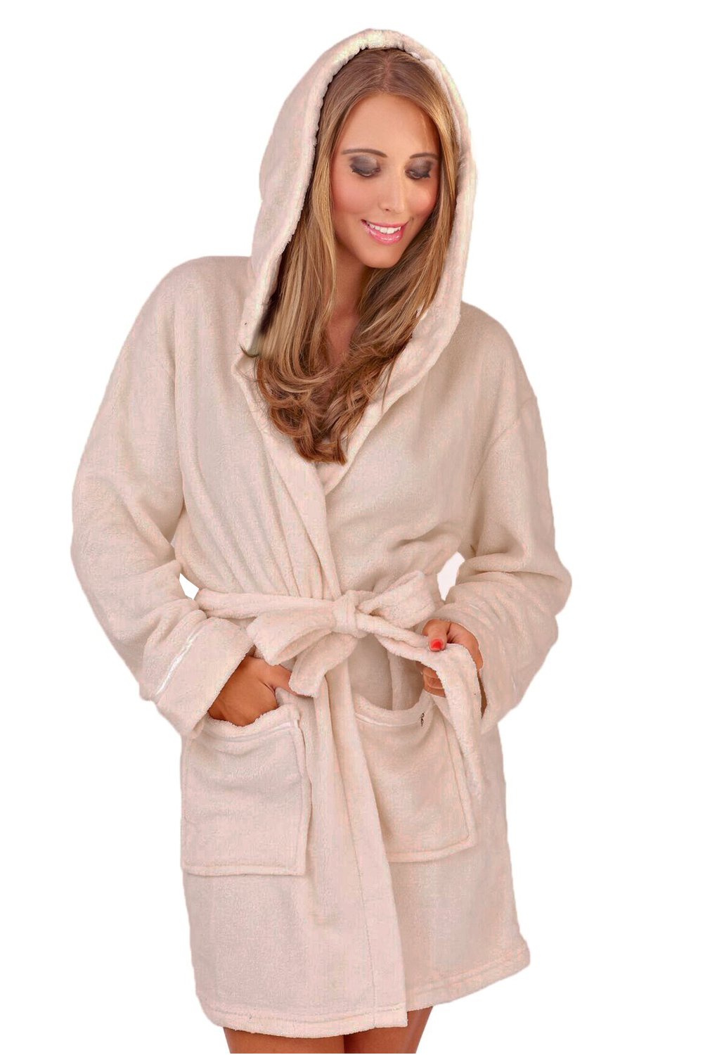 womens soft hooded short bathrobe dressing gown housecoat. Black Bedroom Furniture Sets. Home Design Ideas