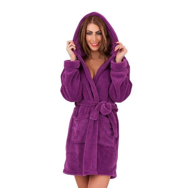 Womens Soft Hooded Short Bathrobe Dressing Gown Housecoat Ladies ...