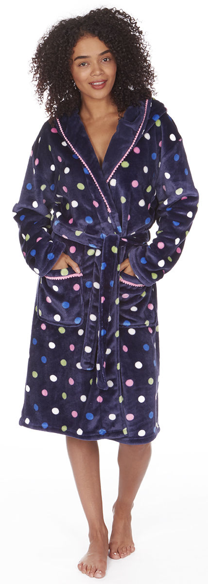 Womens Soft Hooded Short Bathrobe Dressing Gown Housecoat Ladies ... 660ccf63b