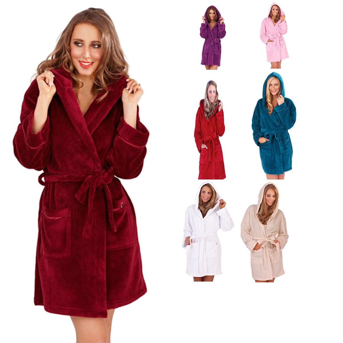 d798629fad Womens Soft Hooded Short Bath Robe Dressing Gown Housecoat Ladies Girls  Luxury