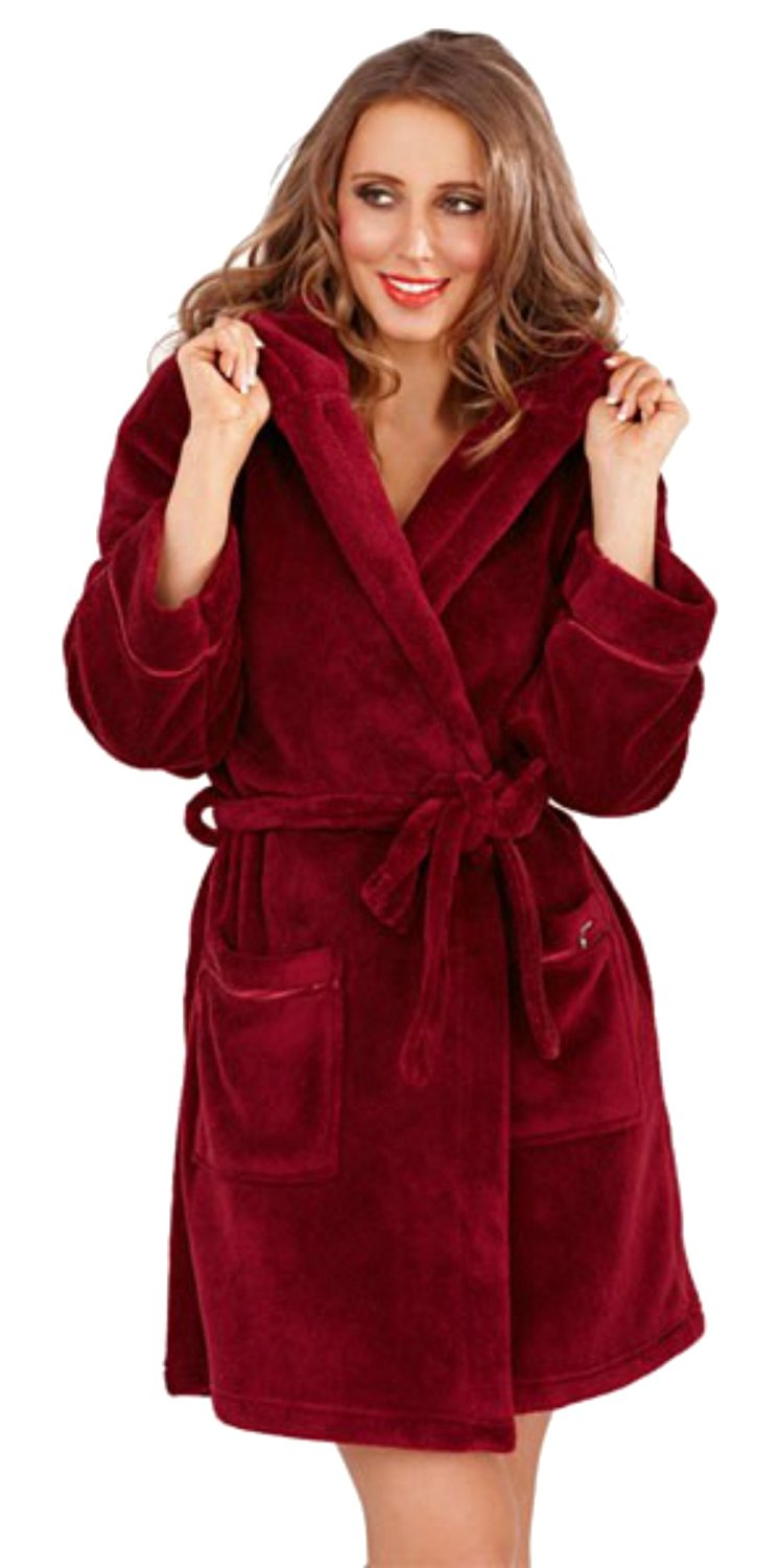 Womens Soft Hooded Short Bathrobe Dressing Gown Housecoat Ladies