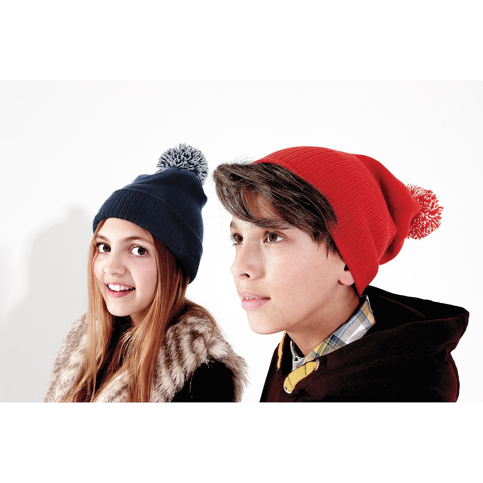 d7bd9ff681c Sentinel Beechfield Kids Snowstar Duo Beanie Hat Boys Girls Winter Warm  Bobble Winter Cap