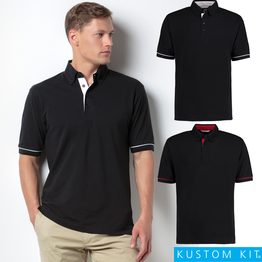 Kustom kit men 39 s polo shirt button down collar contrast for Button down collar golf shirt