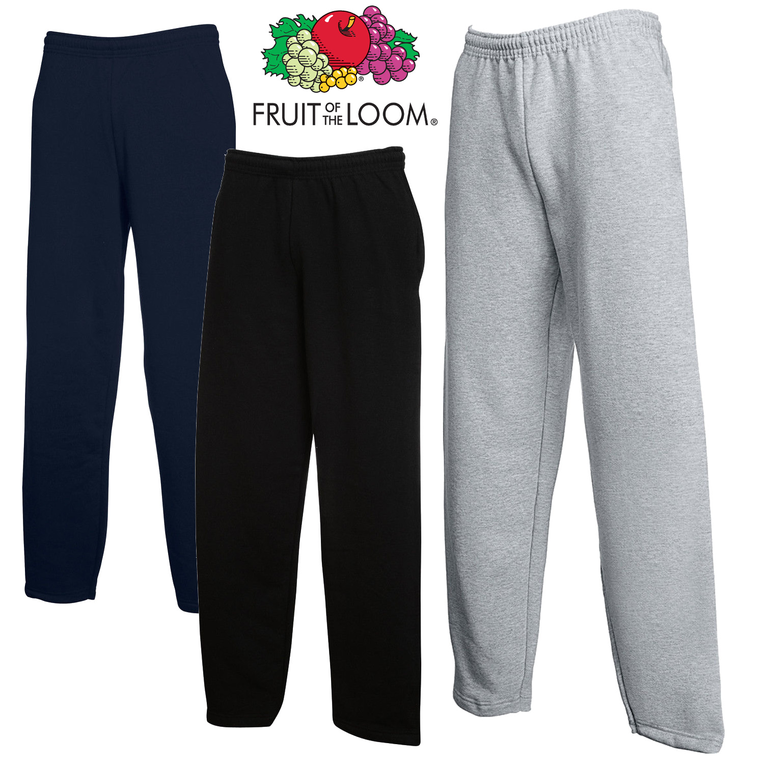 Fruit of the Loom Classic Open Leg Sweatpants Trousers Leggings Joggers
