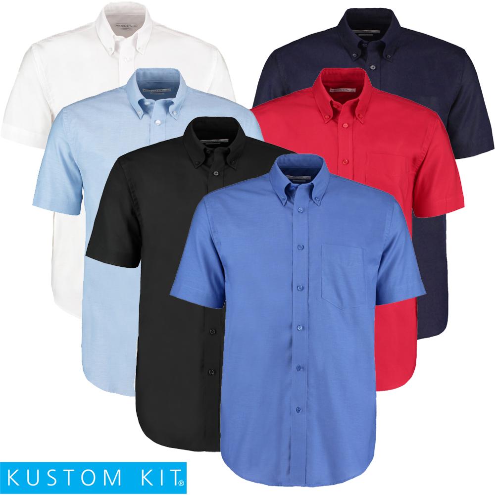 Kustom Kit MEN/'S SHIRT BUTTON DOWN SHORT SLEEVE SMART WORK OFFICE BUSINESS S-2XL