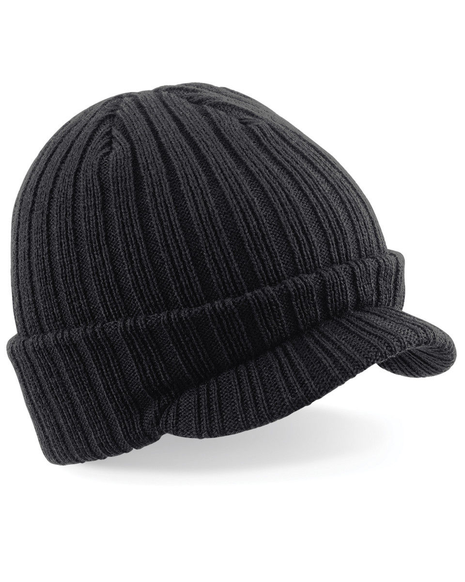 Beechfield Peaked Beanie Hat Unisex Double Layer Knitted Winters Warm Cap New