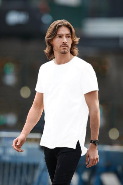 Anvil-Uomo-Leggero-T-Shirt-Plain-Top-lungo-magra-TEE-Morbido-Cotone-Drop-Tail