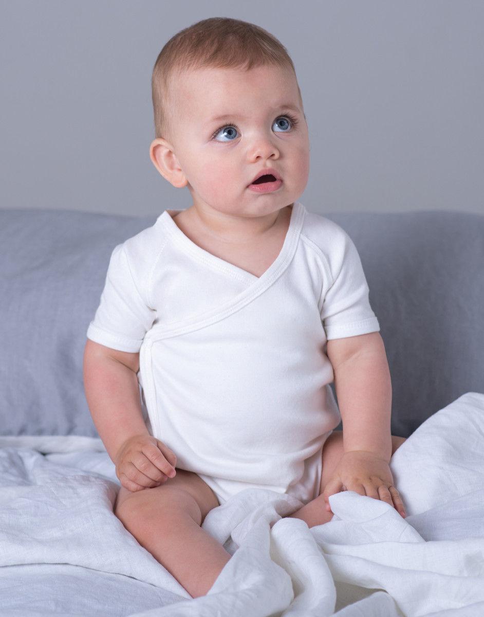 BABY KIMONO BODYSUIT 100/% SOFT COTTON ECO SHORT SLEEVE RAGLAN COMFORT BOYS GIRLS