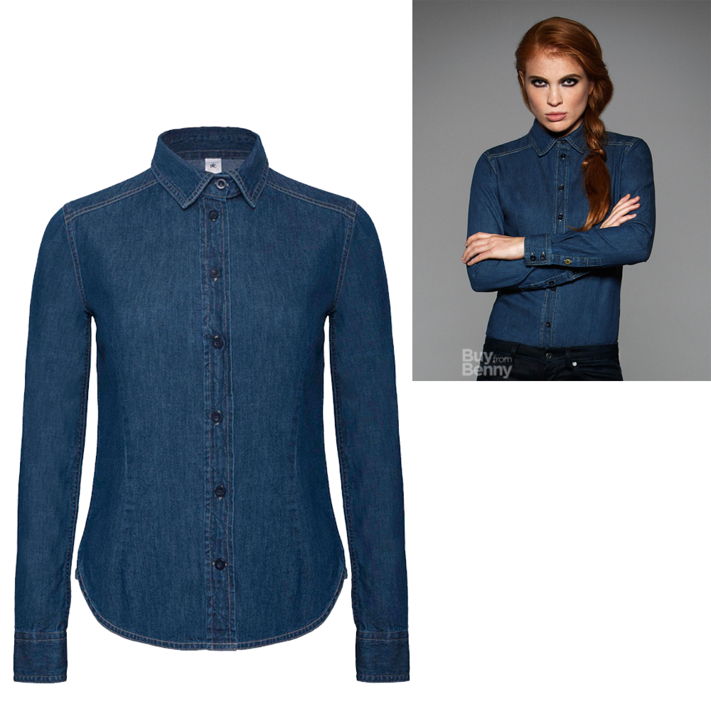 B c ladies denim shirt smart casual collar 100 cotton for Blue denim shirt for womens