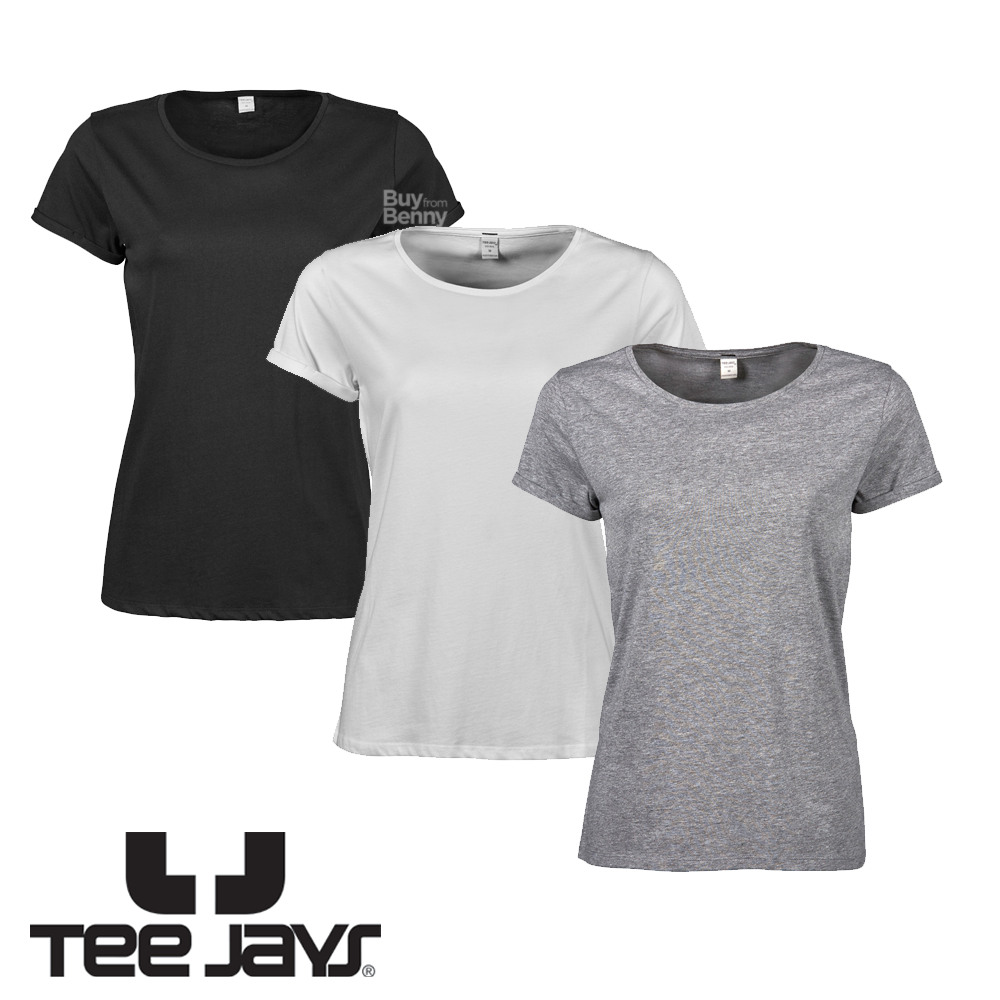 aed6e352ac9e Details about TEE JAYS LADIES T-SHIRT ROLL UP SLEEVE PLAIN BASIC TOP  FASHION 100% COTTON WOMEN