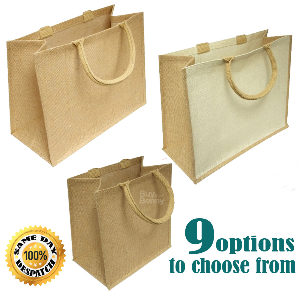 Jute Hessian Large Luxury Plain Shopping Bag Shopper Geneva Style Single or Lot