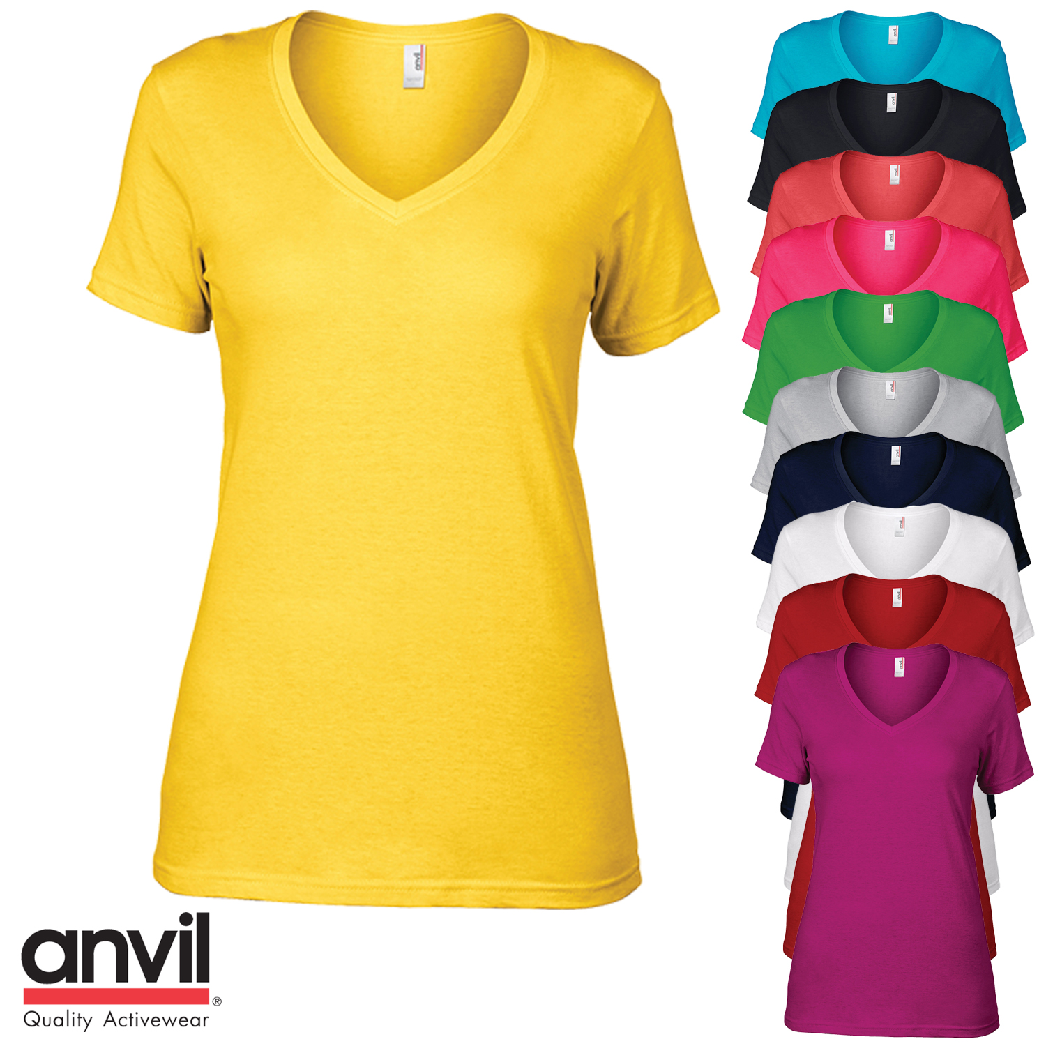 8161028560f2 Sentinel Anvil Women's Short sleeve V-Neck T-Shirt Ladies Slim Fit Plain  Casual Top