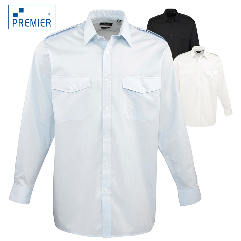 3ab02526829 Details about Premier Men s Long Sleeve Pilot Security Formal Work Business  Shirt Multi Pocket