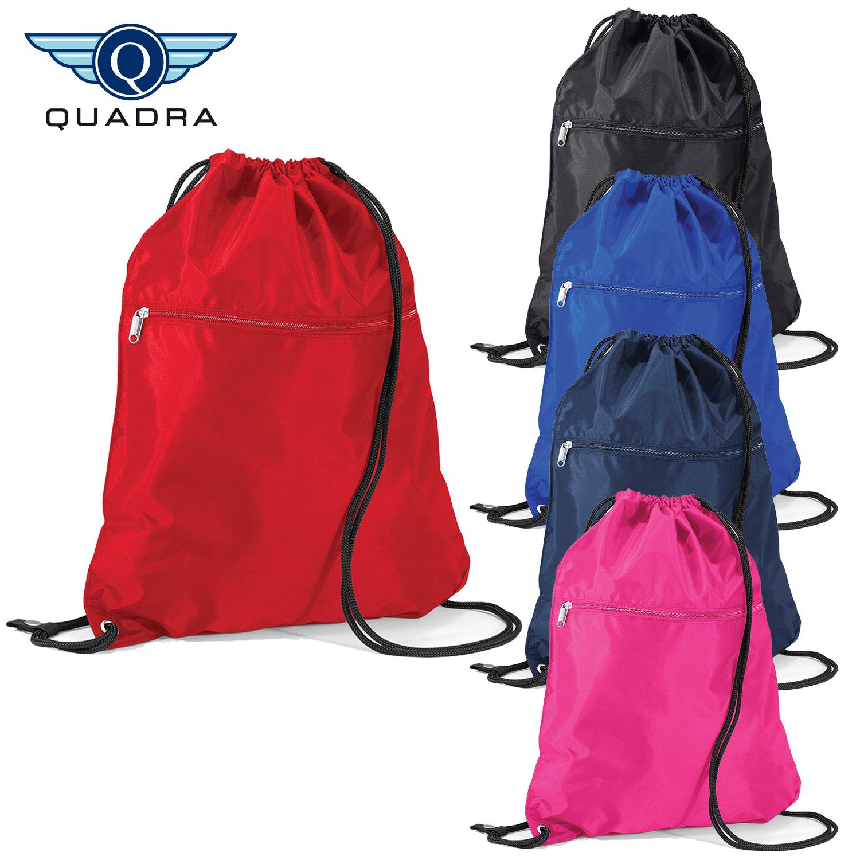 Quadra Zipped Pocket Drawstring Bag Kids PE Gym Swimming Bag Water Resistant New