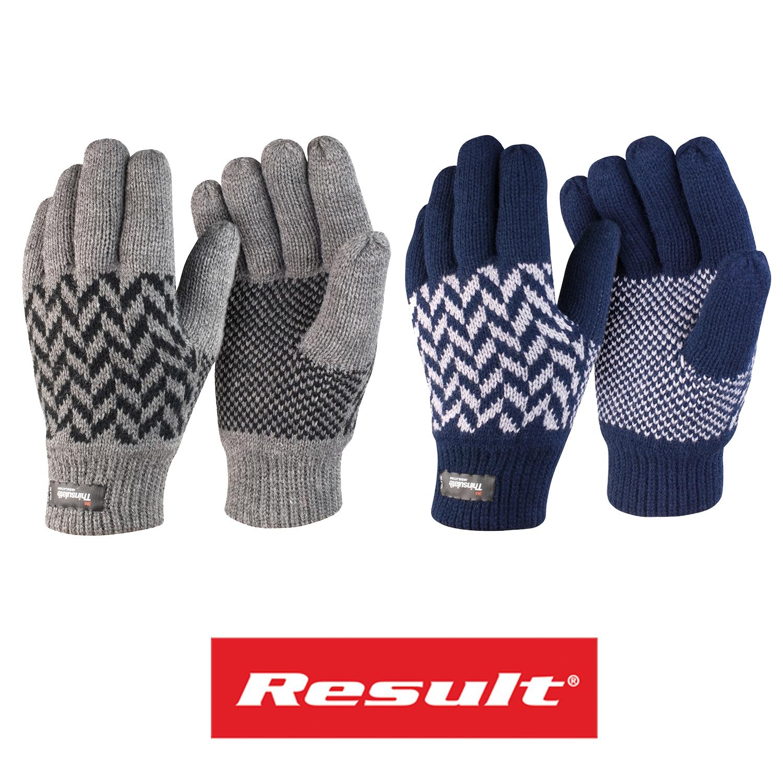 Result Pattern Thinsulate Gloves Winter Essentials R365X Warm Unisex Mens Lined
