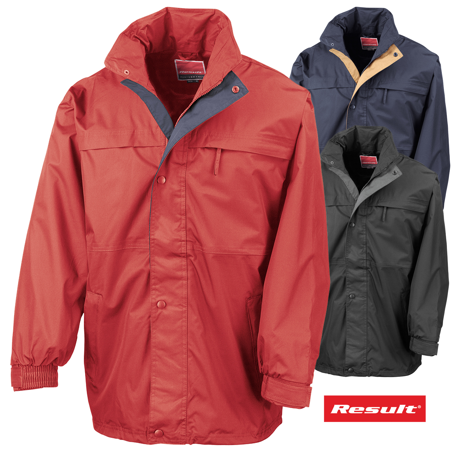 c68321541ee2 Details about Result Mens Winter Mid Weight Wind Rain Outdoor Jacket  Concealed Hooded Coat New