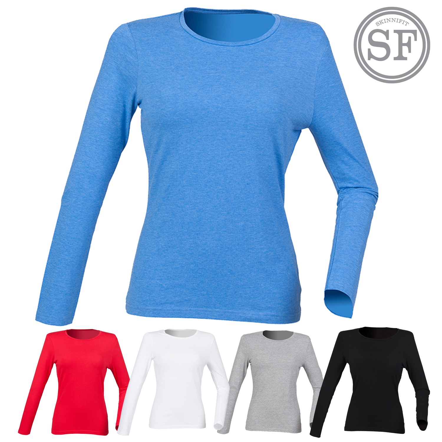 a237ec1ca462c Details about SF Women s Long Sleeve Crew Neck Stretch T-Shirt Ladies Tee  Plain Casual Top New