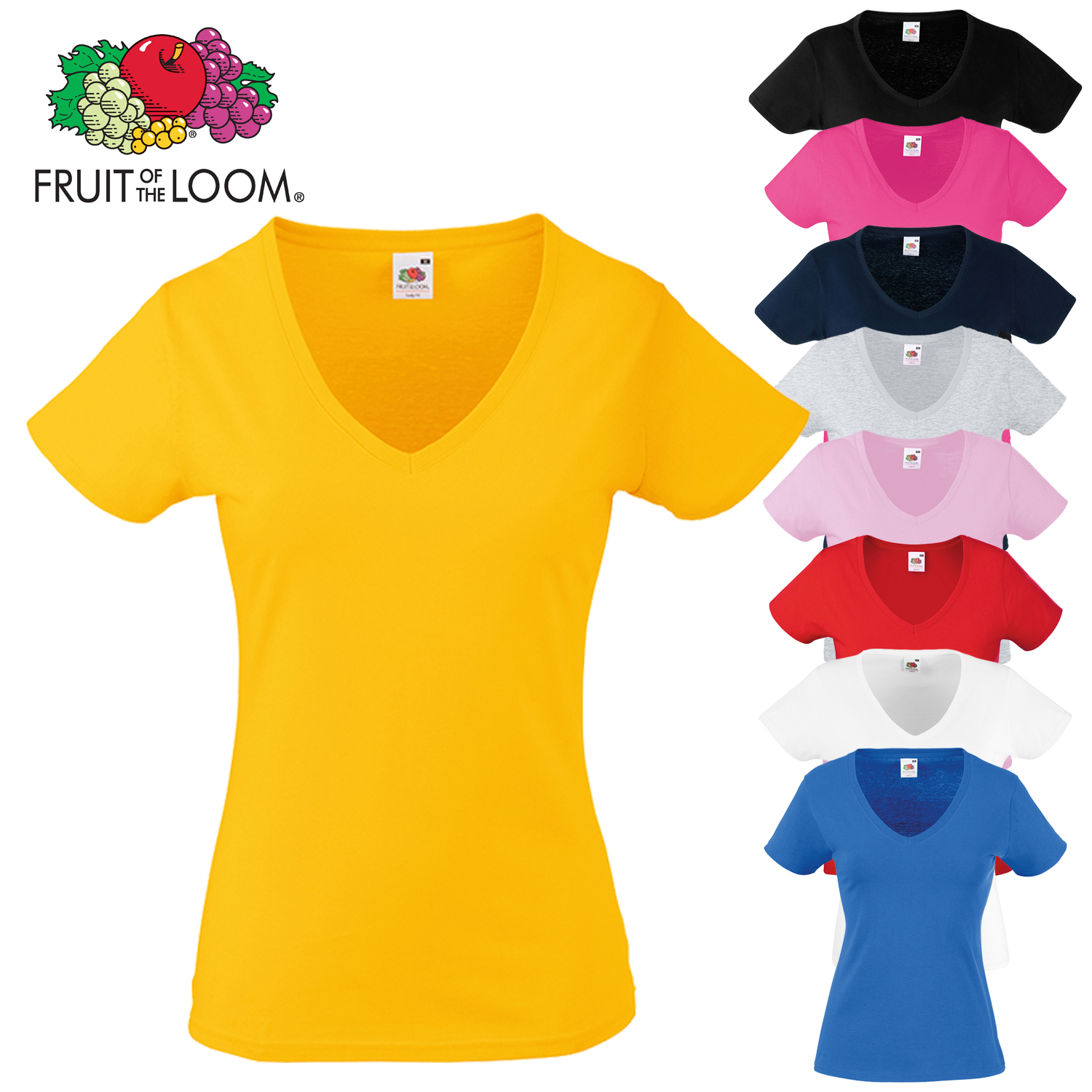 Fruit of the loom Lady Fit Damen T-Shirt Valueweight V-Neck T Value Woman Shirt