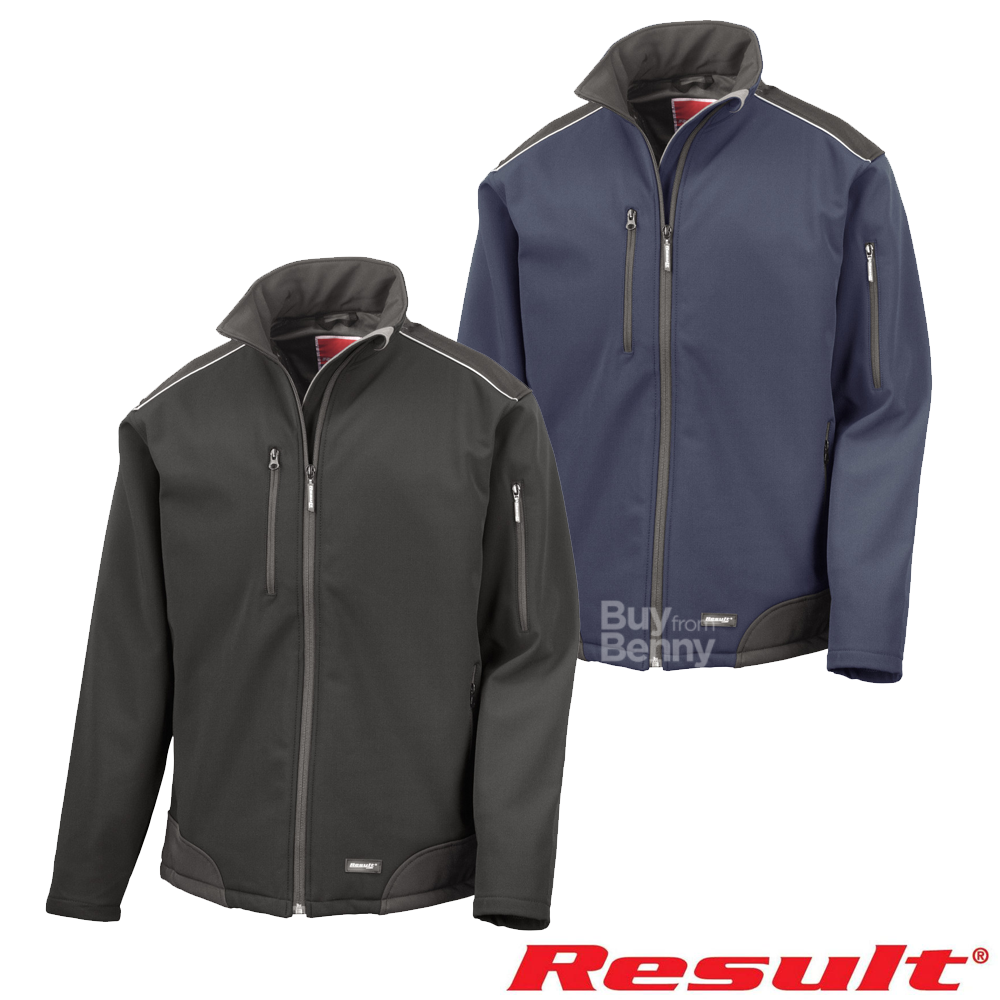 Result Work-Guard Mens Ice Fell Hooded Soft Shell Jacket Black//Black S