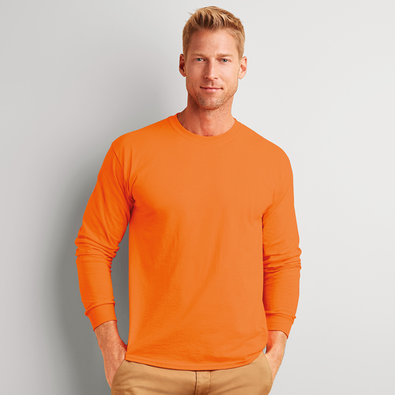 da54f35f1c98 Details about Gildan GD014 Ultra Cotton Mens Plain Crew Neck Full Sleeves T- Shirt Casual Tops