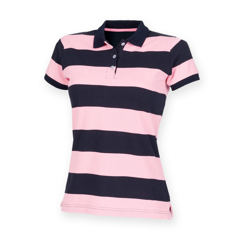 Front-Row-Women-039-s-Striped-Slim-Fit-Short-Sleeve-Rugby-Polo-Shirt-Ladies-Top-New