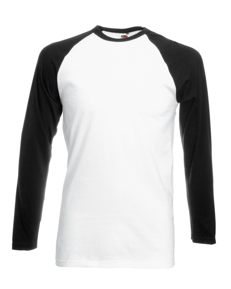 Fruit-of-the-Loom-Para-Hombre-Camiseta-de-manga-larga-de-contraste-cuello-de-Beisbol-Deporte-Algodon