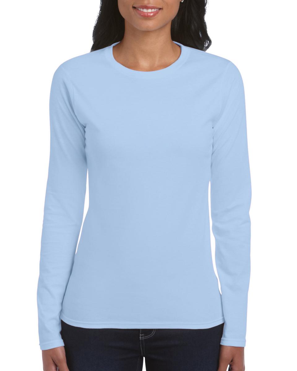 6f66ed685c8 Gildan Ladies  Soft Style Long Sleeve T-shirt Light Blue All Sizes ...
