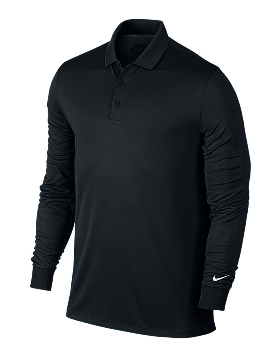 Nike Vicotry Long Sleeve Polo Shirt Dri Fit Collar Gym Sport Fit