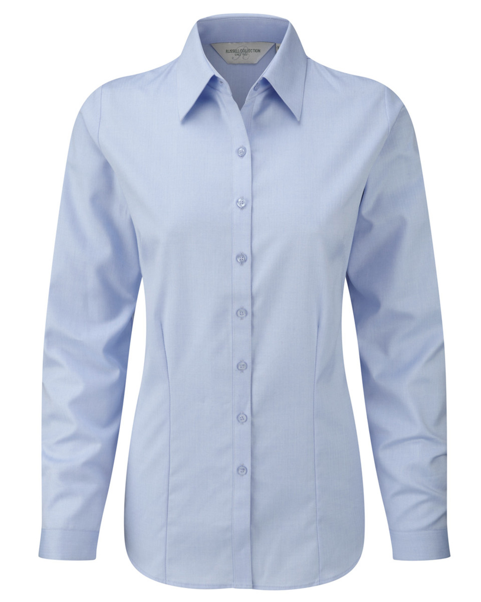 RUSSELL-COLLECTION-LADIES-SHIRT-COLLAR-LONG-FIT-CUFFS-TAILORED-SMART-WORK-XS-4XL