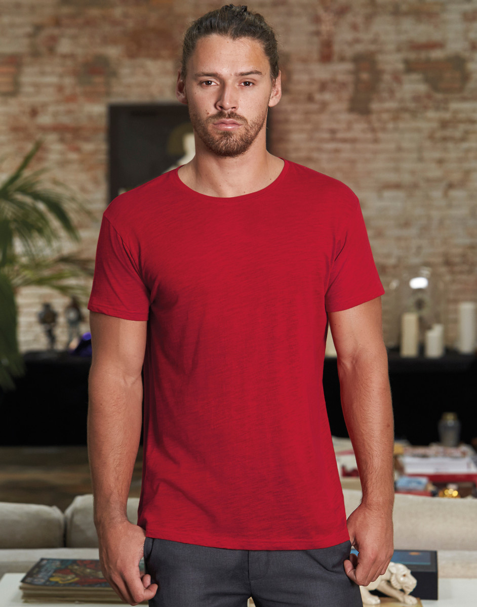 B/&C MEN/'S V-NECK T-SHIRT 100/% ORGANIC COTTON PLAIN BASIC TEE SHORT SLEEVE CASUAL