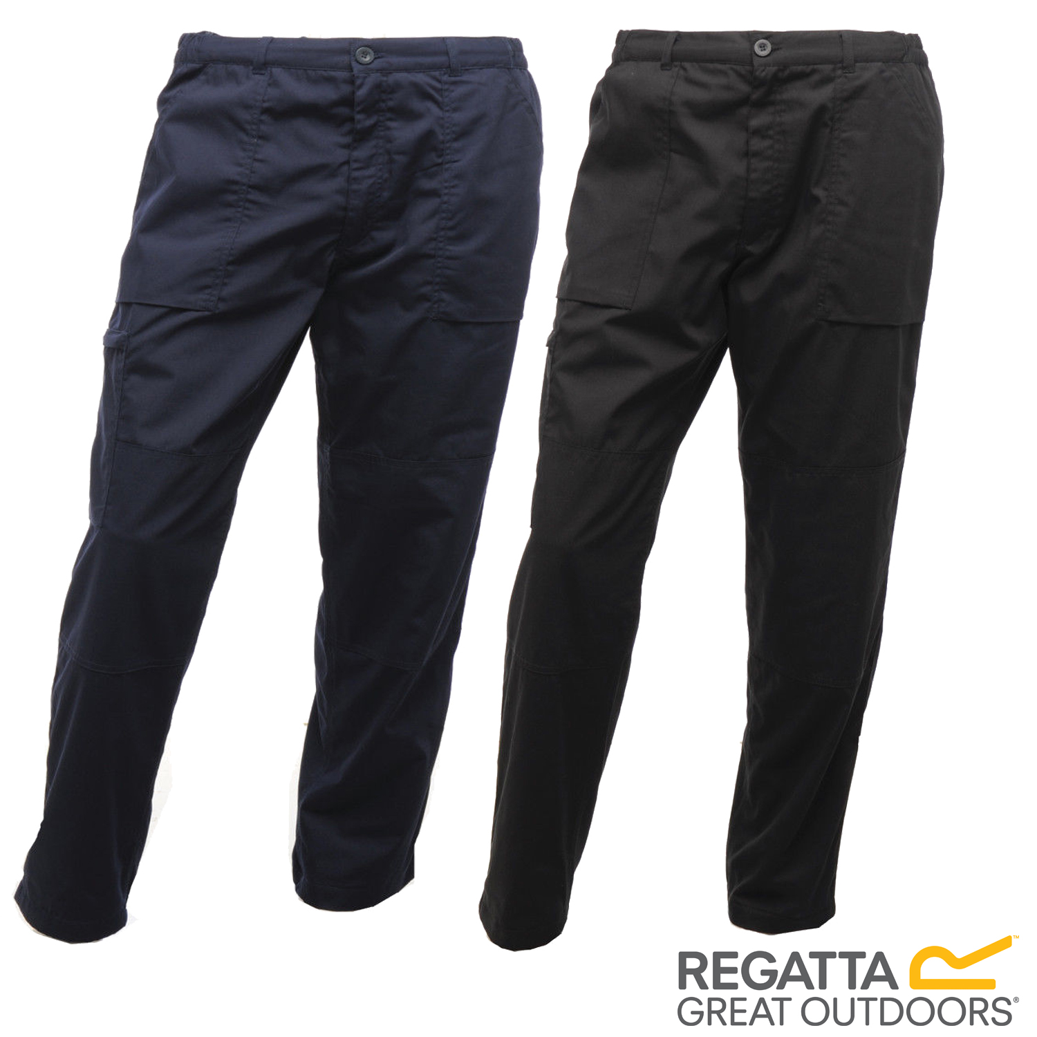 REGATTA LINED ACTION TROUSERS WORKWEAR DURABLE WATER REPELLENT MULTI POCKET LONG
