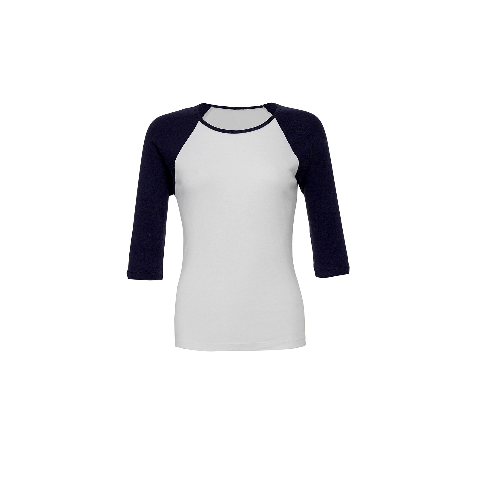 Canvas-Baby-Rib-Knit-3-4-Sleeve-Contrast-Raglan-T-Shirt-Cotton-Ladies-Fitted-Top
