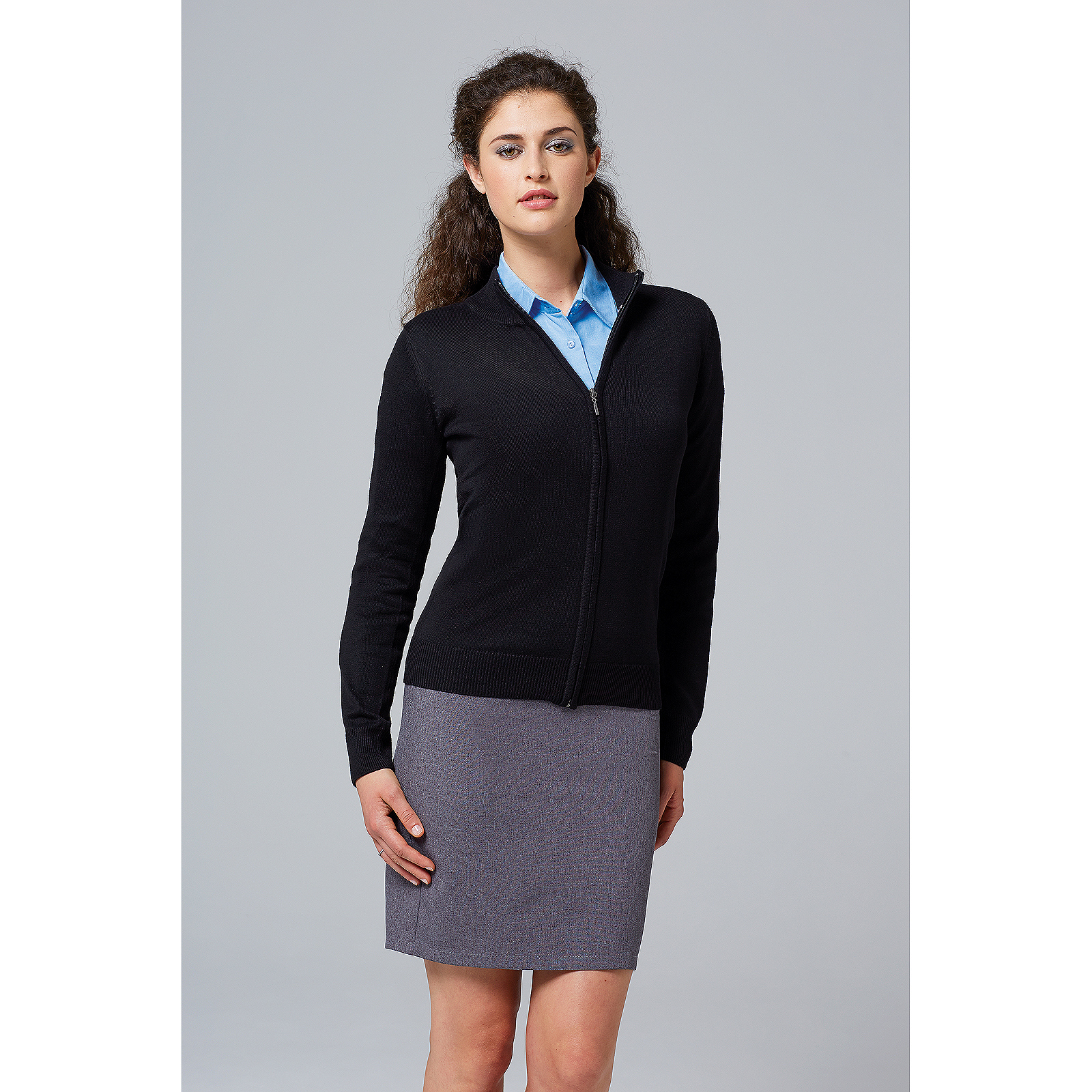 Ladies Gordon Full Zip Cardigan Cotton Acrylic Knitwear Warm Cosy Womens Sweater