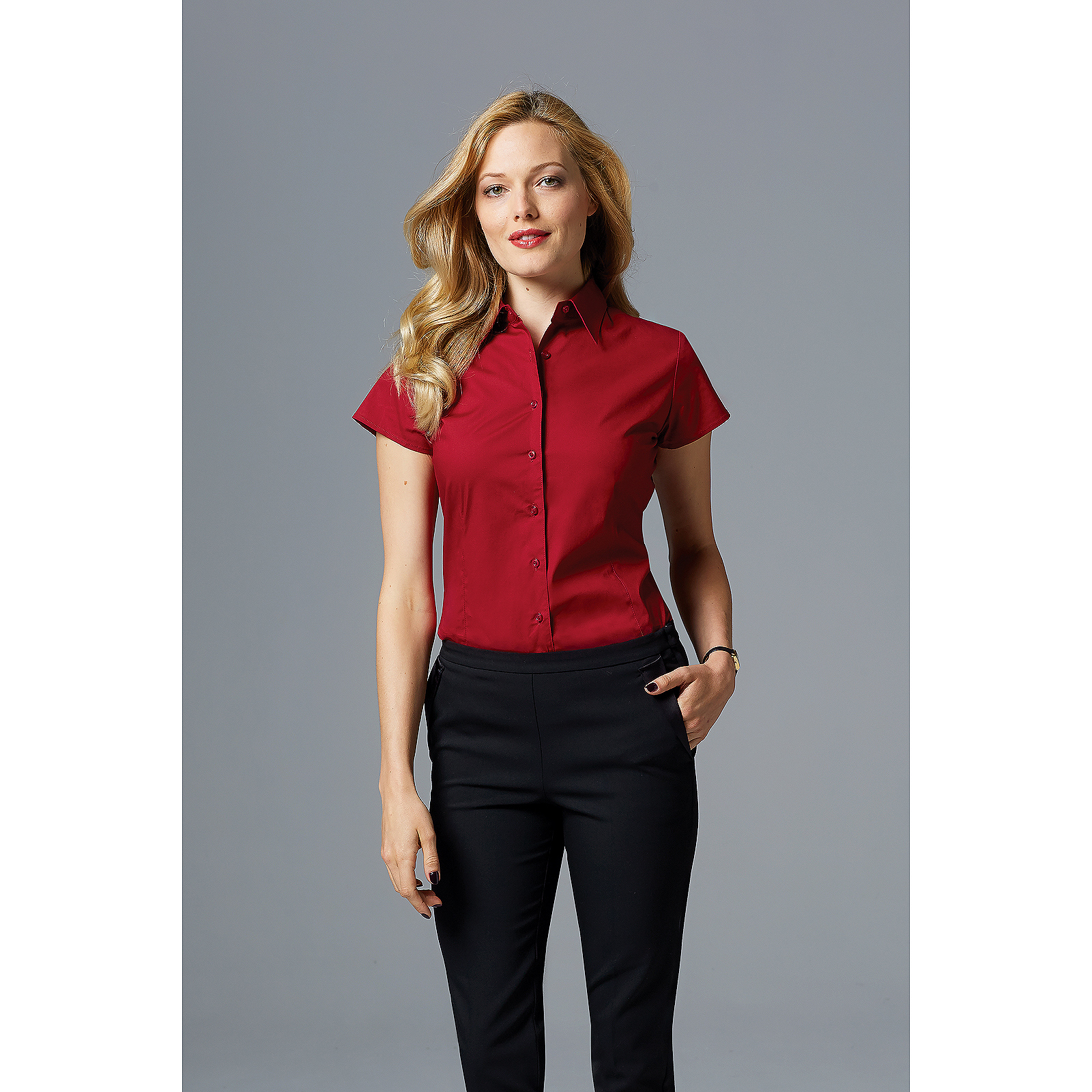 b597f60ae23 Details about Sol Women Ladies Excess Short Sleeve Fitted Work Shirt Smart  Casual Formal Plain