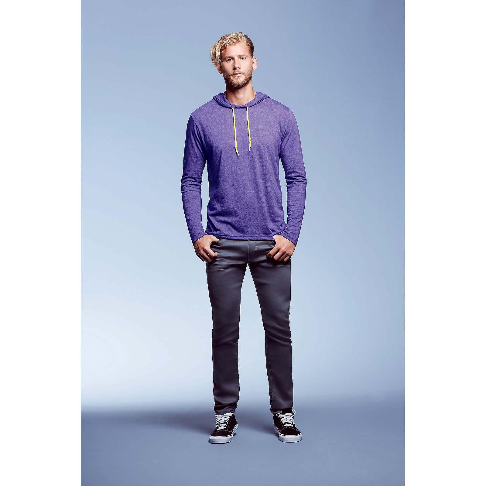 Mens-Adult-Fashion-Basic-Long-Sleeve-Hooded-T-Shirt-Hoodie-Tee-Top-Casual-Plain thumbnail 4