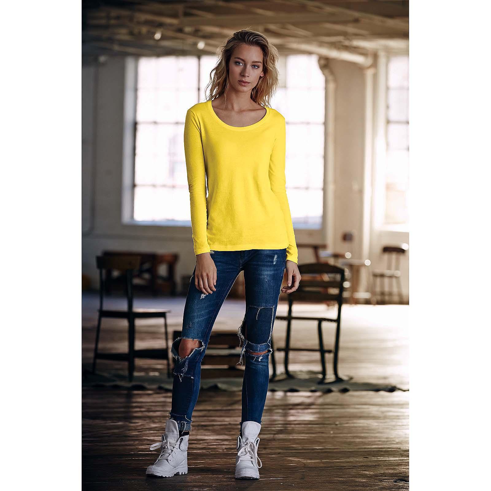 Womens Ladies Anvil Long Sleeve Semi Fitted Sheer Scoop Neck Tee Shirt T AV122