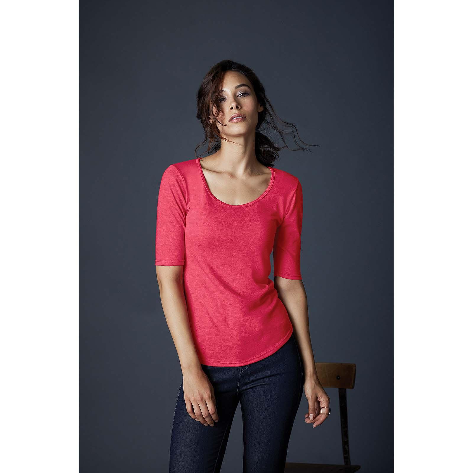 9d1e7be000ca Details about Ladies Tri Blend Deep Scoop Neck 1/2 Half Sleeve T Shirt  Women Fit Plain Tee Top