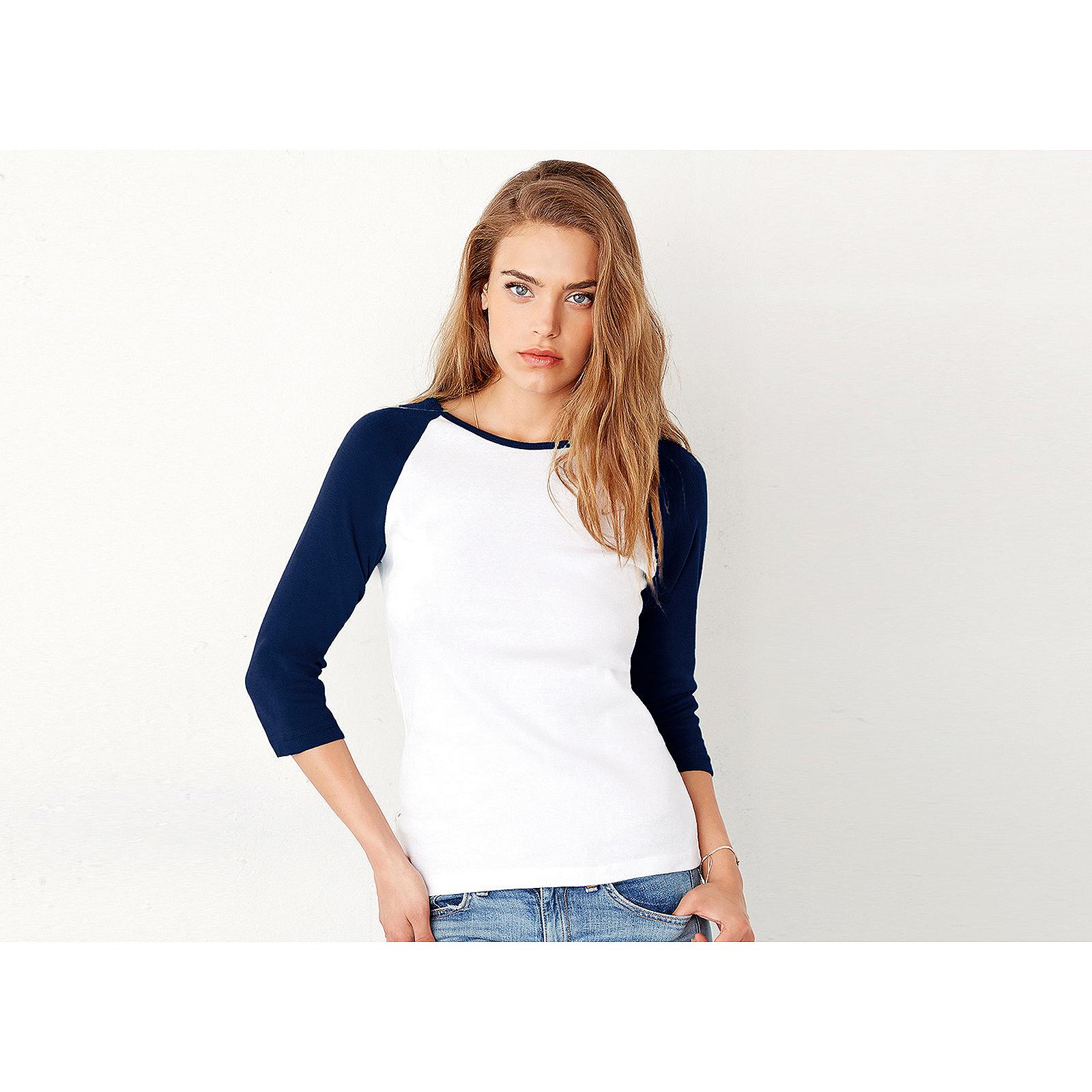 db1e1064ae1248 Sentinel Canvas Baby Rib Knit 3/4 Sleeve Contrast Raglan T Shirt Cotton  Ladies Fitted Top