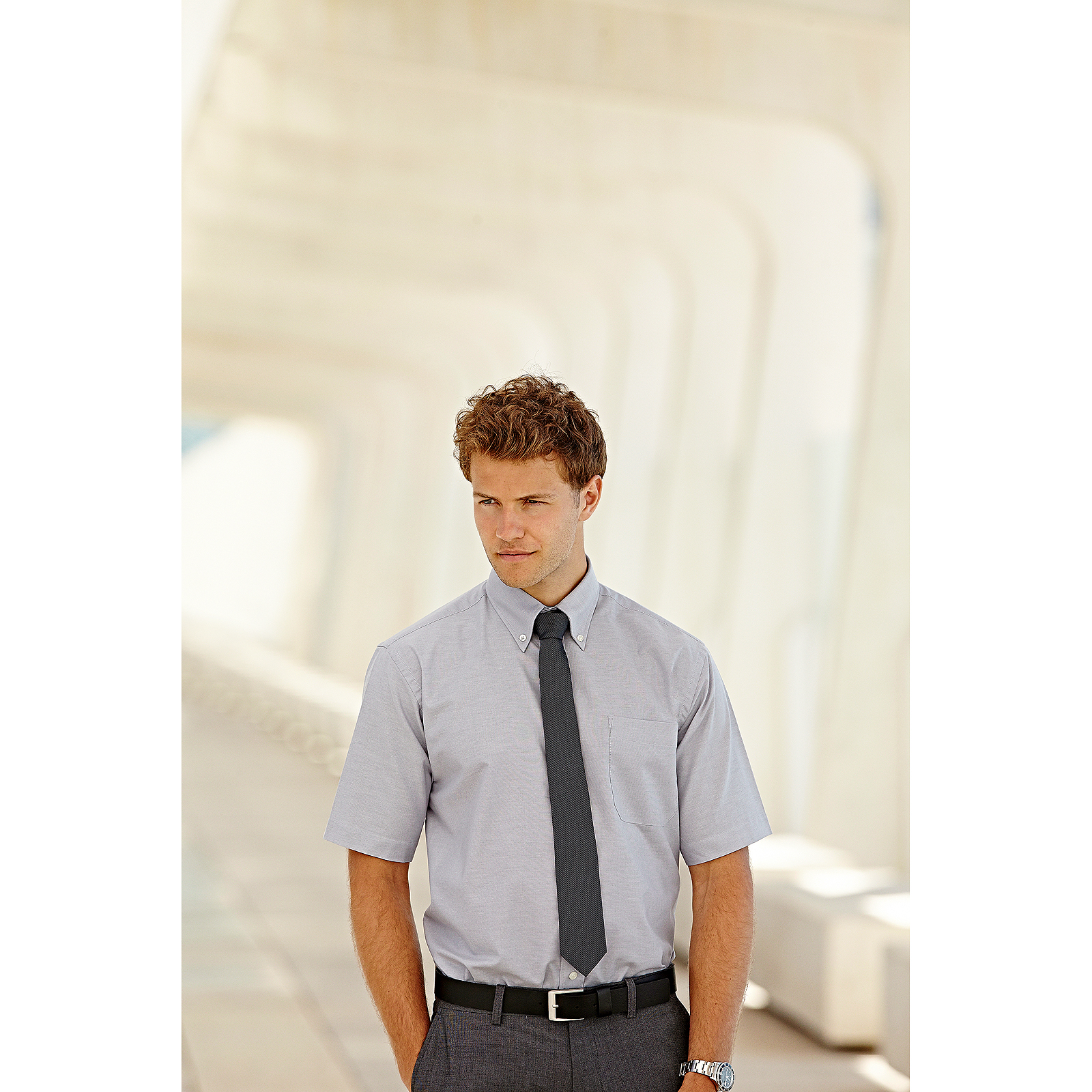 Details about Fruit of the Loom Mens Short Sleeves Oxford Shirt Smart Fit Office Wear Shirts