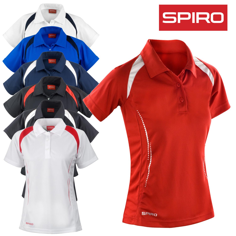 Sentinel Spiro Las Polo Shirt Team Sport Tennis Top Quick Cool Dry Breatable Contrast